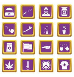 Rastafarian icons set purple vector