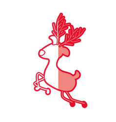 Red silhouette caricature of graceful reindeer vector
