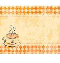retro background with a cup coffee vector image