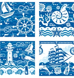 Seampless patterns with Nautical and sea symbols vector