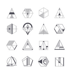 set abstract linear hipster tribal vector image