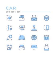set car related color line icons vector image