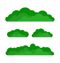 Set of cartoon green bushes vector
