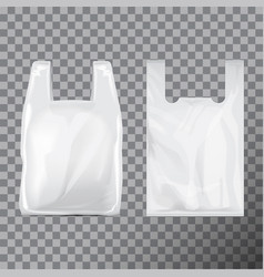 Set of disposable t-shirt plastic bag package vector