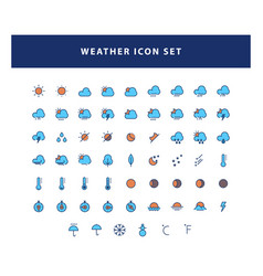 set weather icon with filled outline style vector image