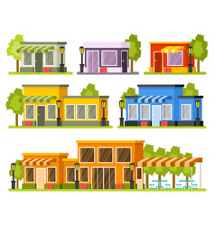 Shops and stores buildings vector