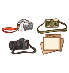 Simple sketches of the cameras of a photographer vector