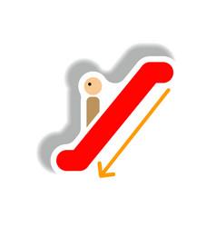 Stylish icon in paper sticker style escalator down vector