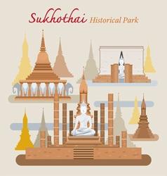 Sukhothai Historical Park Thailand vector