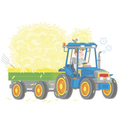Tractor carrying hay vector