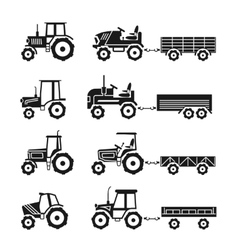Tractors icons set vector image