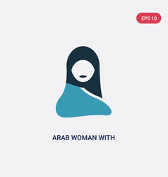 two color arab woman with hijab icon from other vector image