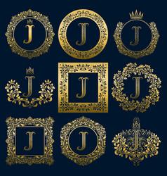 Vintage monograms set of j letter vector