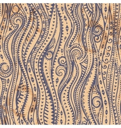 Vintage seamless with ethnic waves vector