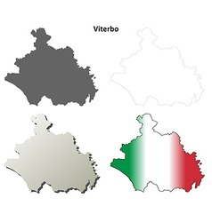 Viterbo blank detailed outline map set vector