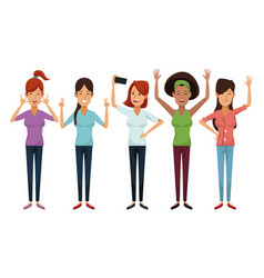 white background with colorful female group vector image