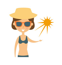 Woman posing with sun on her palm in shades and vector