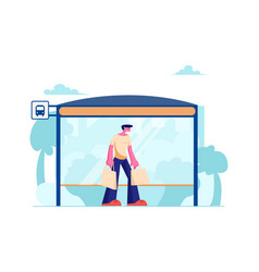 young man with shopping bags stand on bus station vector image