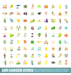100 career icons set cartoon style vector