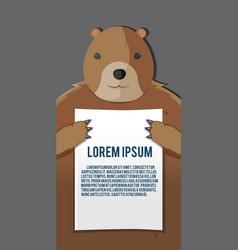 bear hold paper background template vector image vector image