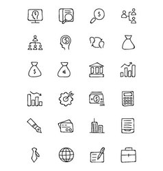 Finance Hand Drawn Doodle Icons 1 vector image
