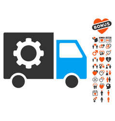 gear tools delivery car icon with love bonus vector image vector image