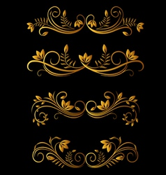 golden floral elements vector image vector image
