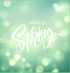 hello spring background with bokeh and vector image