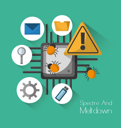 Spectre and meltdown warning security virus vector