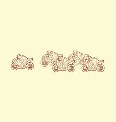 5 motorcycle racing team side view graphic vector image vector image