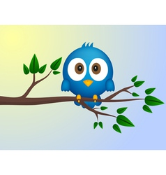 Blue bird sitting on twig vector image