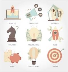Entrepreneurship flat design icon set vector image vector image