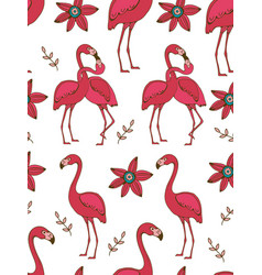 Flamingo couple kissing colorful seamless pattern vector