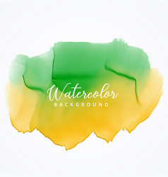 green and yellow watercolor paint background with vector image vector image