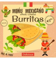 Mexican menu burritos vector