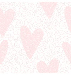 seamless pattern with swirles and hearts vector image vector image