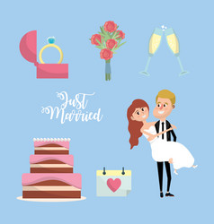 Set just married with things to ceremony vector