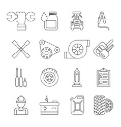 Auto repair icons set outline style vector