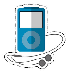blue mp3 player headphones vector image