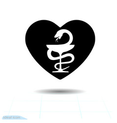 heart black icon bowl of hygeia symbol of vector image vector image