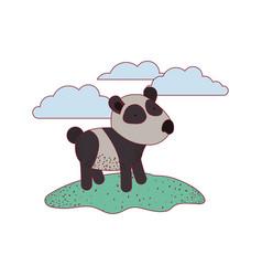 panda cartoon in outdoor scene with clouds on vector image vector image