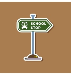Paper sticker on stylish background school stop vector