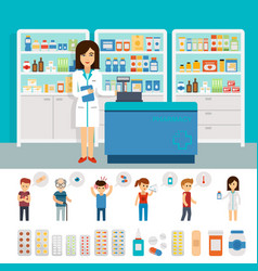 pharmacy infographic elements and flat banner vector image vector image