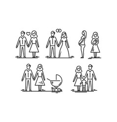 young family parents and kids dating wedding vector image