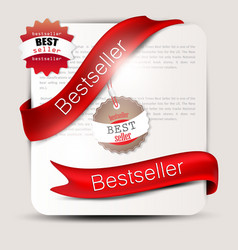 Bestseller red banners and labels set vector