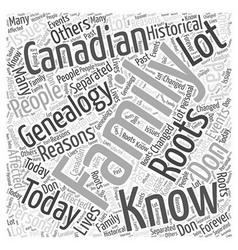 canadian genealogy Word Cloud Concept vector image vector image