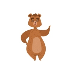 Girly Cartoon Brown Bear Character Standing And vector image vector image