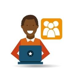 man afroamerican using laptop gro media icon vector image