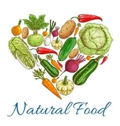 Natural vegetables food in heart symbol vector image vector image