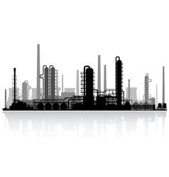 Oil refinery silhouette vector image